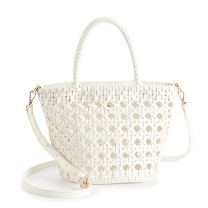 LC Lauren Conrad White Woven Caned Tote Bag